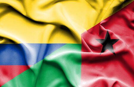 guinea bissau: Waving flag of Guinea Bissau and Columbia