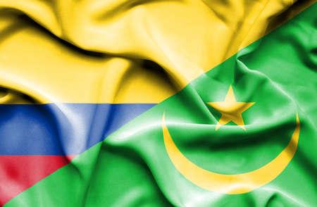 mauritania: Waving flag of Mauritania and Columbia