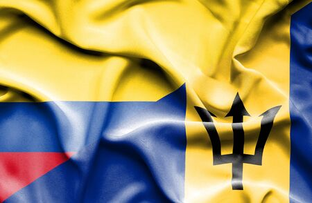 columbia: Waving flag of Barbados and Columbia Stock Photo