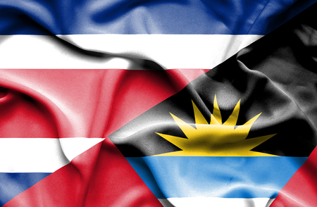 antigua: Waving flag of Antigua and Barbuda and Costa Rica