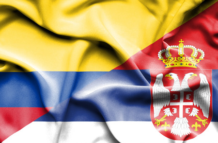 columbia: Waving flag of Serbia and Columbia Stock Photo