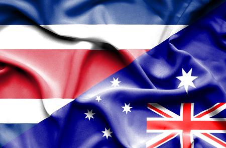 costa: Waving flag of Australia and Costa Rica