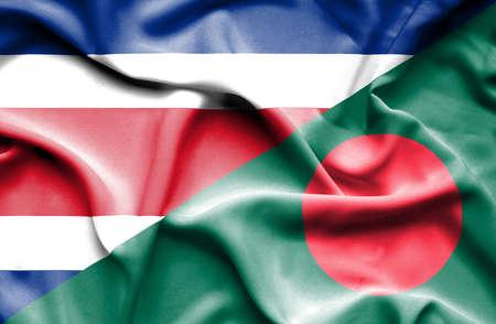 costa: Waving flag of Bangladesh and Costa Rica Stock Photo