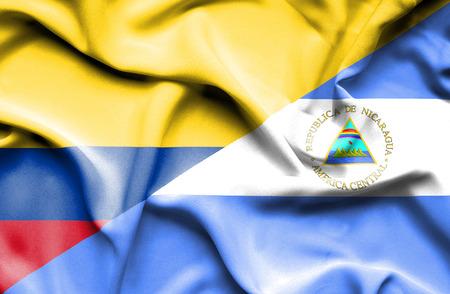 columbia: Waving flag of Nicaragua and Columbia