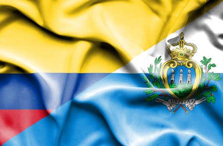 san marino: Waving flag of San Marino and Columbia