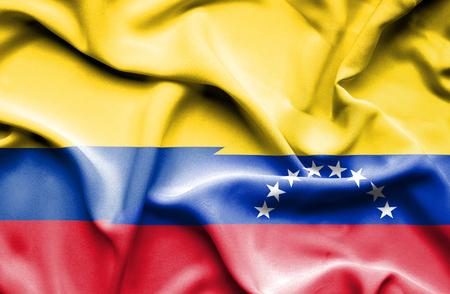columbia: Waving flag of Venezuela and Columbia