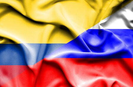 columbia: Waving flag of Russia and Columbia