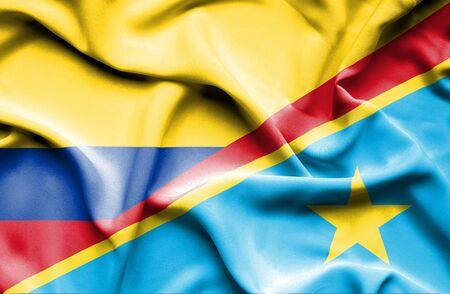 columbia: Waving flag of Congo Democratic Republic and Columbia