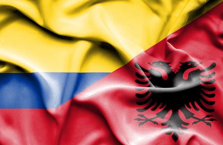 columbia: Waving flag of Albania and Columbia
