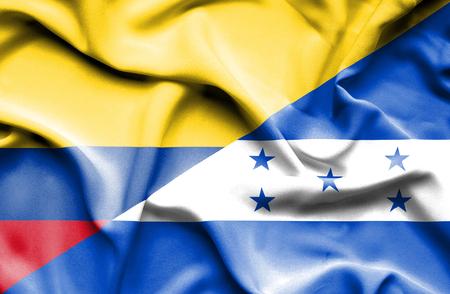 columbia: Waving flag of Honduras and Columbia