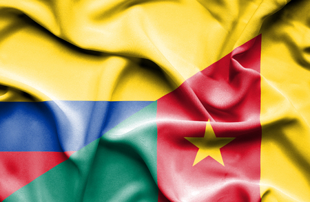 cameroon: Waving flag of Cameroon and Columbia