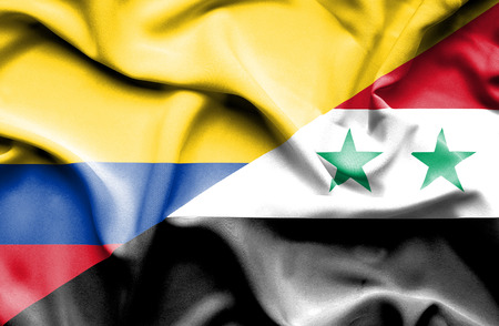 columbia: Waving flag of Syria and Columbia