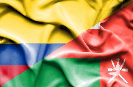 columbia: Waving flag of Oman and Columbia