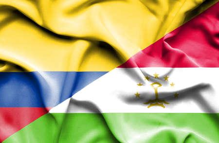columbia: Waving flag of Tajikistan and Columbia