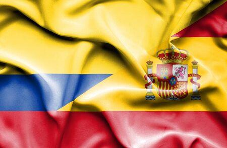 columbia: Waving flag of Spain and Columbia