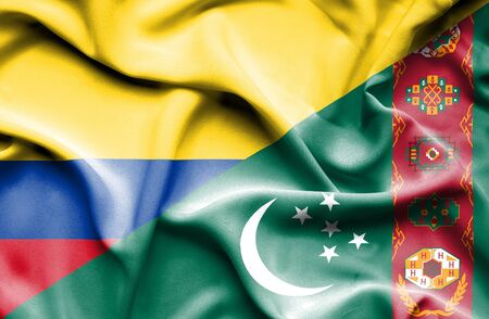columbia: Waving flag of Turkmenistan and Columbia Stock Photo