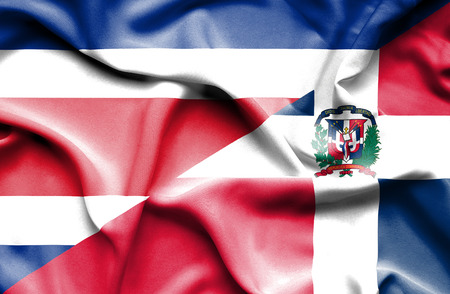 dominican republic: Waving flag of Dominican Republic and Costa Rica