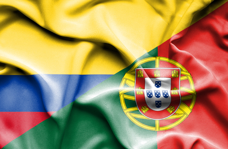 columbia: Waving flag of Portugal and Columbia Stock Photo
