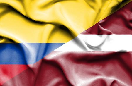 columbia: Waving flag of Latvia and Columbia