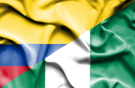 columbia: Waving flag of Nigeria and Columbia