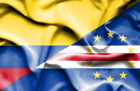 verde: Waving flag of Cape Verde and Columbia Stock Photo