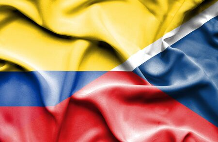 columbia: Waving flag of Czech Republic and Columbia