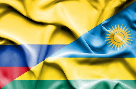 columbia: Waving flag of Rwanda and Columbia