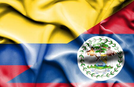 columbia: Waving flag of Belize and Columbia