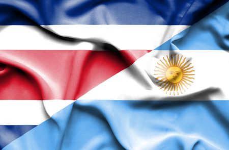 costa rica: Waving flag of Argentina and Costa Rica