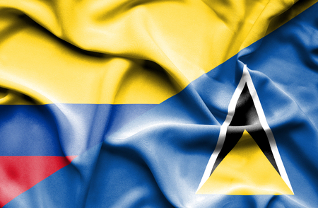 st lucia: Waving flag of St Lucia and Columbia