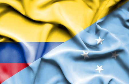 columbia: Waving flag of Micronesia and Columbia