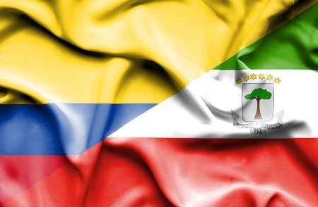 equatorial: Waving flag of Equatorial Giuinea and Columbia