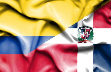 dominican: Waving flag of Dominican Republic and Columbia Stock Photo