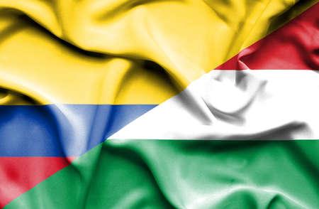 columbia: Waving flag of Hungary and Columbia