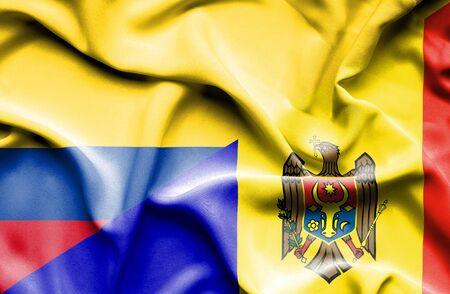 columbia: Waving flag of Moldavia and Columbia Stock Photo