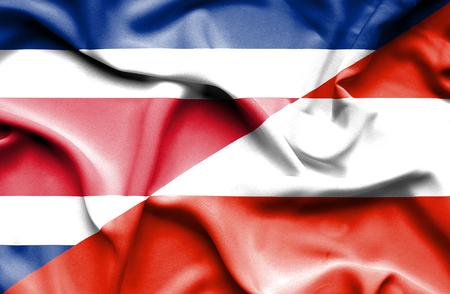 costa rica: Waving flag of Austria and Costa Rica Stock Photo