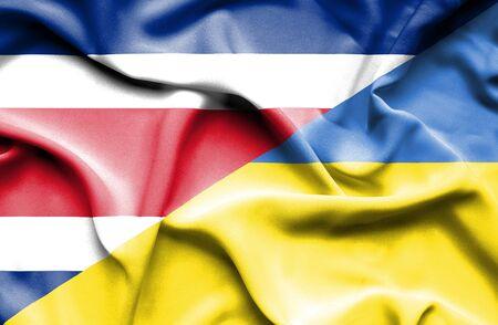 costa rica: Waving flag of Ukraine and Costa Rica