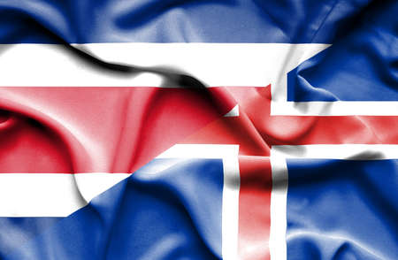 costa: Waving flag of Iceland and Costa Rica