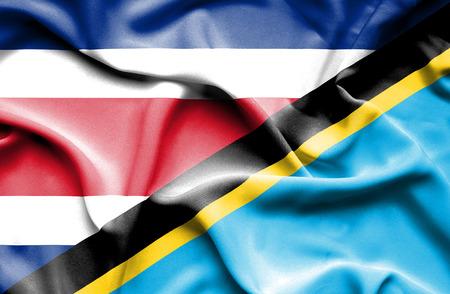 costa rica: Waving flag of Tanzania and Costa Rica