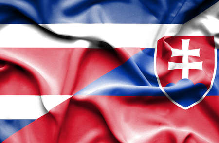 costa rica: Waving flag of Slovakia and Costa Rica