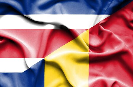 costa: Waving flag of Romania and Costa Rica