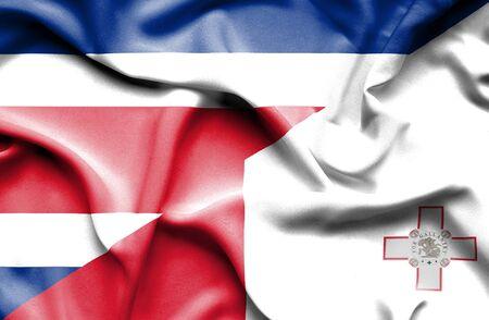 costa rica: Waving flag of Malta and Costa Rica