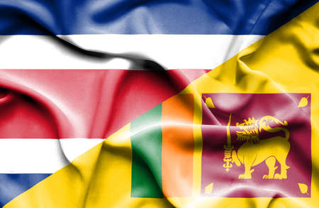 sri lankan flag: Waving flag of Sri Lanka and Costa Rica