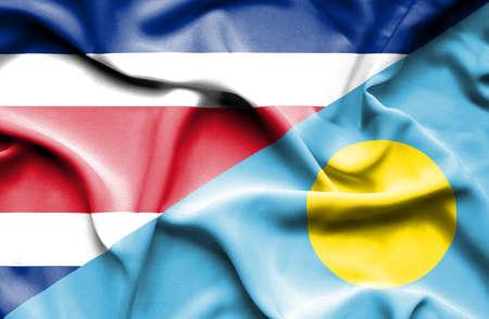palau: Waving flag of Palau and Costa Rica