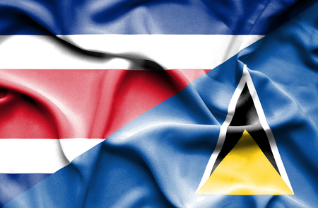 st lucia: Waving flag of St Lucia and Costa Rica Stock Photo