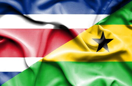 principe: Waving flag of Sao Tome and Principe and Costa Rica