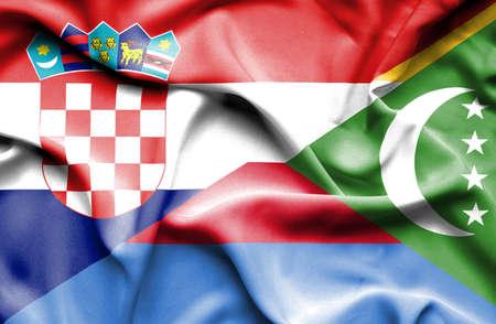 comoros: Waving flag of Comoros and Croatia