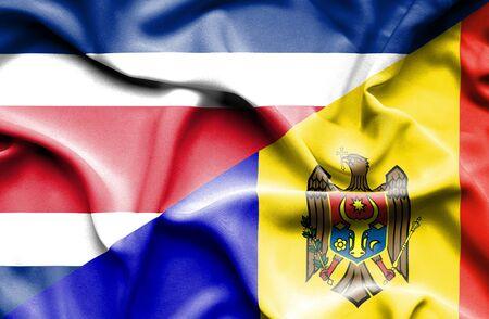 moldavia: Waving flag of Moldavia and Costa Rica