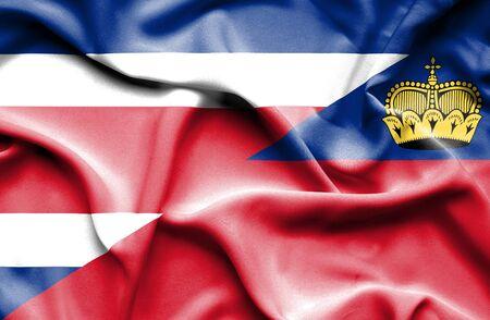 costa: Waving flag of Lichtenstein and Costa Rica Stock Photo