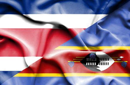 costa: Waving flag of Swazliand and Costa Rica